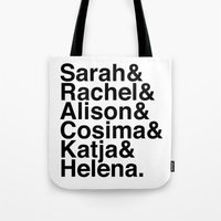 orphan black Tote Bags featuring Orphan Black by Elanor Jarque