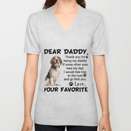 Beagle Dear Daddy Thank you for being my daddy Father's Day Gift For Dog Lovers Unisex V-Neck