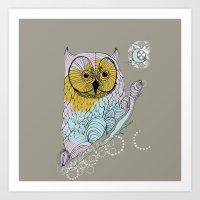 scandinavian Art Prints featuring Scandinavian owl by CASTELBARCO DESIGN