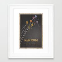 mary poppins Framed Art Prints featuring Mary Poppins by Logophilia Design