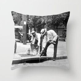 Liquor Down The Drain - Prohibition Era - 1921 Throw Pillow