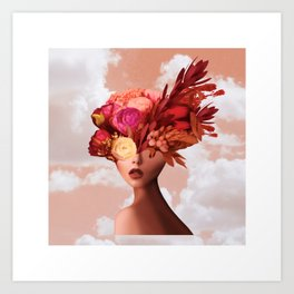Flower camouflaged woman and sky - Spring - Art Print
