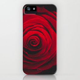 Red rose on black background vintage effect iPhone Case
