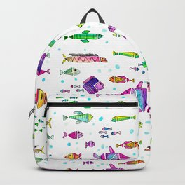 Catch all the fish! Tropical and colorful fishes swim in shoals Backpack