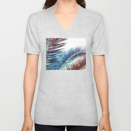 Nostalgic Palm Leaves #Decor #Vintage #BuyArt Unisex V-Neck