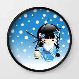 Japanese Winter Kokeshi Doll Wall Clock