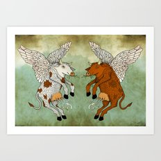 Las vacas voladoras - El día que Art Print