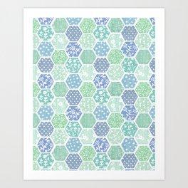 Cool Hex Patchwork Art Print