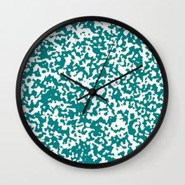 Small Spots - White and Dark Cyan Wall Clock