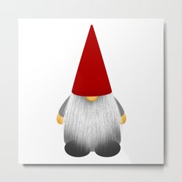 Christmas cute gnome with long white beard and red hat Metal Print