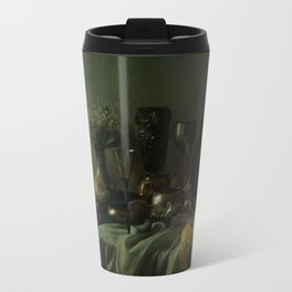 Still life with metal dishes, fruits and fresh flowers Travel Mug