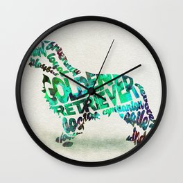 Golden Retriever Dog Typography Art / Watercolor Painting Wall Clock