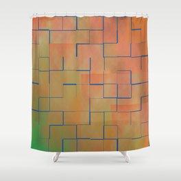 Teal & Coral Tilles Shower Curtain