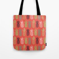 pineapples Tote Bags featuring Pineapples by Annie Smith Designs