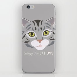 Allergy Free Cat Love: Silver Tabby iPhone Skin