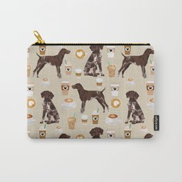 German Shorthair Pointer dog breed custom pet portrait coffee lover pet friendly gifts Carry-All Pouch