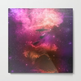 Floating Dolphins in mystic light Metal Print