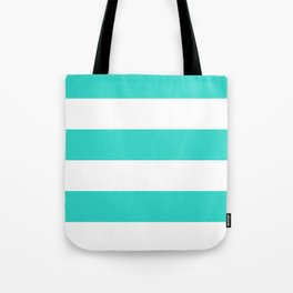 Wide Horizontal Stripes - White and Turquoise Tote Bag