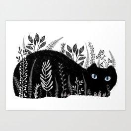 Garden Cat Black And White Art Print