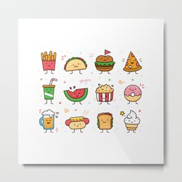 Food Doodle Metal Print