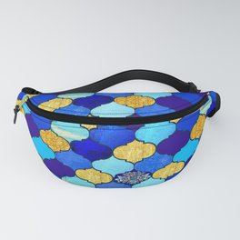 moroccan tiles in blue, aqua and gold Fanny Pack