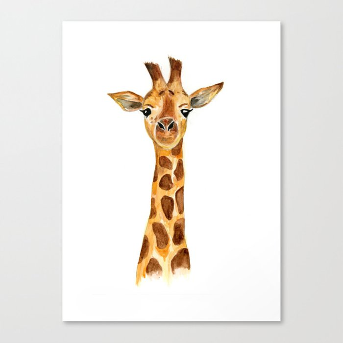 giraffe watercolor painting  Canvas Print