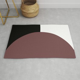 Basic Bold Red Pear Circle and Black and White Rectangles Rug