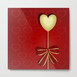 Gold heart for Valentines Day Metal Print