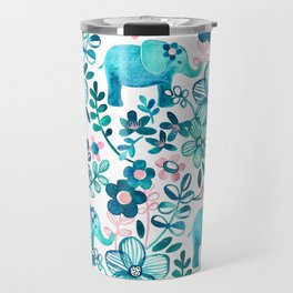 Dusty Pink, White and Teal Elephant and Floral Watercolor Pattern Travel Mug