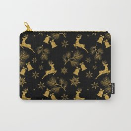 Christmas pattern.Golden pattern on black background. Carry-All Pouch