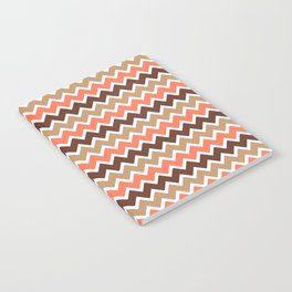 Coral Orange and Brown and Tan Chevron Notebook