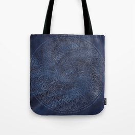 Vintage Circle of Life Mandala full color on blue swirl Distressed Tote Bag