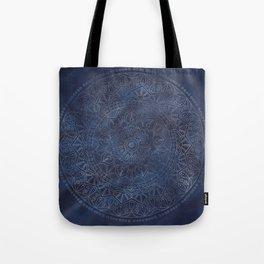 Vintage Circle of Life Mandala full color on blue swirl Distressed Tote Bag