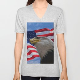 American Flag and Bald Eagle Unisex V-Neck