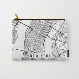 New York City Map, Manhattan New York USA - Black & White Portrait Carry-All Pouch