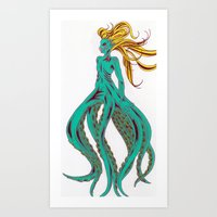 ursula Art Prints featuring Ursula by Megan
