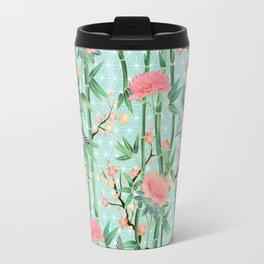 Bamboo, Birds and Blossom - soft blue green Travel Mug