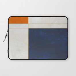Orange, Blue And White With Golden Lines Abstract Painting Laptop Sleeve