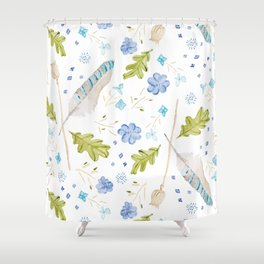 Forage Feather Flower repeat Shower Curtain