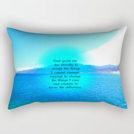 Serenity Prayer With Blue Ocean and Amazing Sky Rectangular Pillow