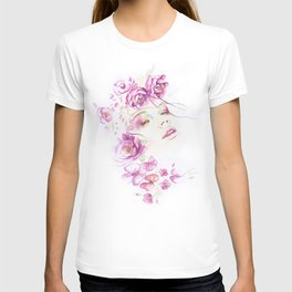Girl with Flower Crown Watercolor lavender pink peonies T-shirt