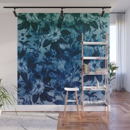 Blossoming flowers print in blue Wall Mural
