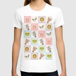 funny animals muzzle owl panda giraffe lion zebra leopard pattern with pink lilac T-shirt