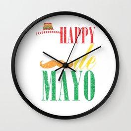 Happy Cinco De Mayo Funny Distressed Celebration Shirt Wall Clock