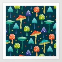 mushrooms Art Prints featuring Mushrooms by Julia Badeeva
