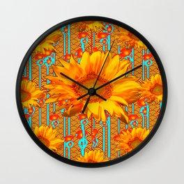 Coffee Brown Sunflower Pattern Orange & Turquoise Wall Clock
