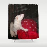 ferret Shower Curtains featuring The Ivory Ferret and the Starry Red Bouncy House by Distortion Art