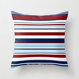 Nautical Stripes - Blue Red White Throw Pillow