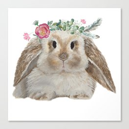 Cute Bunny with Flower Crown Canvas Print