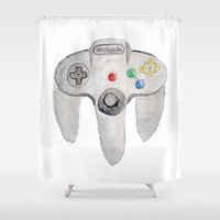 nintendo Shower Curtains featuring Nintendo 64 by Zoë Hayman